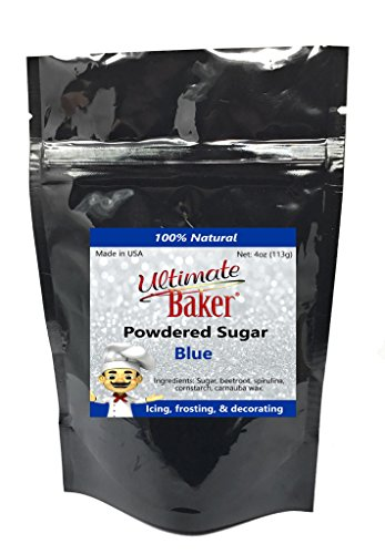 Ultimate Baker Blue Powdered Sugar - Kosher Certified Naturally Colored Blue Icing Sugar (4oz Bag)