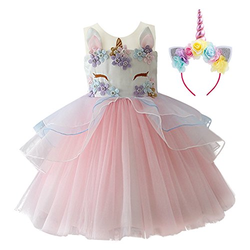 Unicorn Princess Costume Baby Kid Girl Tutu Dress Summer Flower Tulle Gown Tea Length Wedding Bridesmaid First Communion 2PCS Set Pink & Headband 7-8 Years ()