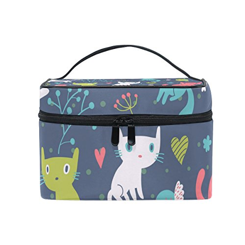 ALAZA Cute Cat Cosmetic Bag Makeup toiletry Bag Travel Case Organizer for Women -
