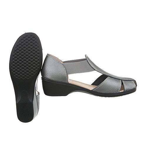 78446a94f81d Riemchensandalen Leder Damenschuhe Klettverschluss Ital-Design Sandalen    Sandaletten Grau Silber LBS009 ...
