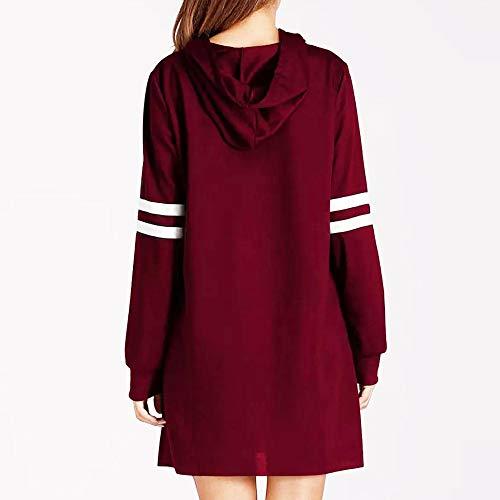 pour Manches Poche Longue Shirts Sweat Shirt Rouge Fathoit avec Casual Longue Sweat Capuche Vin Femme Casual Printemps Robe Automne Pull FPvcqwY