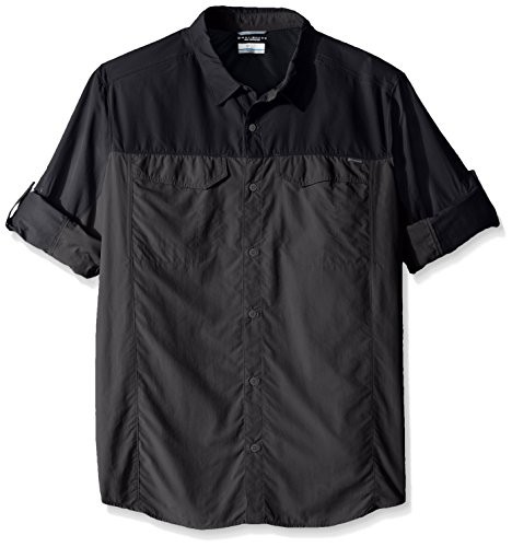 Columbia Mens Silver Ridge Blocked Long Sleeve Shirt, Large, Black/Shark