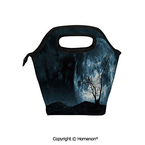 Insulated Neoprene Soft Lunch Bag Tote Handbag lunchbox,3d prited with Night Moon Sky with Tree Silhouette Gothic Halloween Colors Scary Artsy,For School work Office Kids Lunch Box & Food Container ()