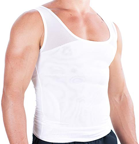 Esteem Apparel Original Men's Chest Compression Shirt to Hide Gynecomastia Moobs (White, Large)