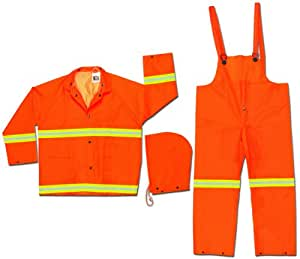 MCR Safety 2013RX3 Luminator PVC/Polyester 3-Piece Suit with Reflective Material Tape, Fluorescent Orange, 3X-Large