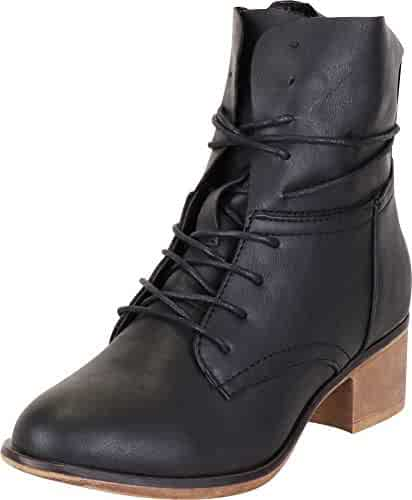 5e64570b67 Cambridge Select Women's Lace-Up Chunky Stacked Block Heel Ankle Bootie