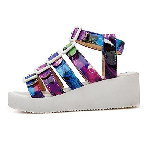 Fashion Sandaletten Mit Schnalle Schuhe Blau Blumenmuster Damen Out Keilabsatz Cut Uh Plateau Sandalen xT1WUw6qvn