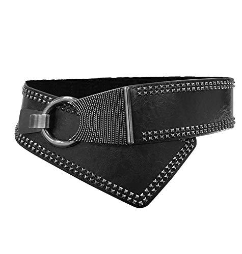 Women Girls Fashion Rivet Studded Oblique Buckle Adjustable Elastic Wide Waist Belt (one size, black)