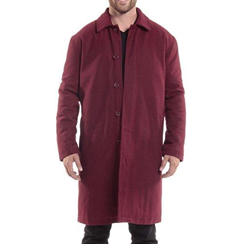 Red Overcoat (alpine swiss Zach Mens Wool Trench Coat Knee Length Overcoat Burgundy XL)
