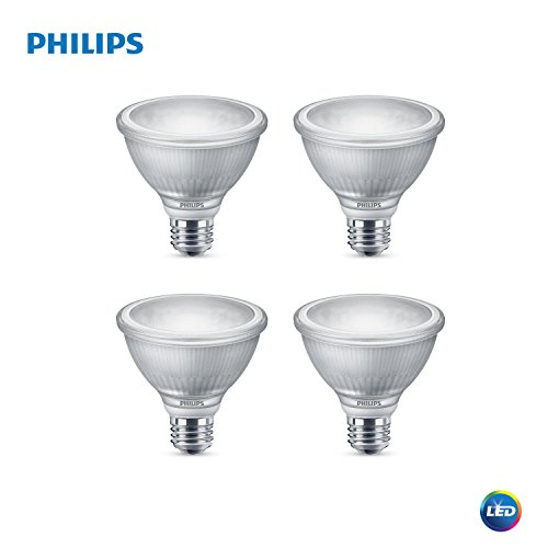 Philips LED 477455 LED Classic Glass Dimmable PAR30S 40-Degree Spot Light Bulb with Warm Glow Effect 850-Lumen, 2200-3000-Kelvin, 10 (75-Watt Equivalent), E26 Base, Bright White, 4 Pack