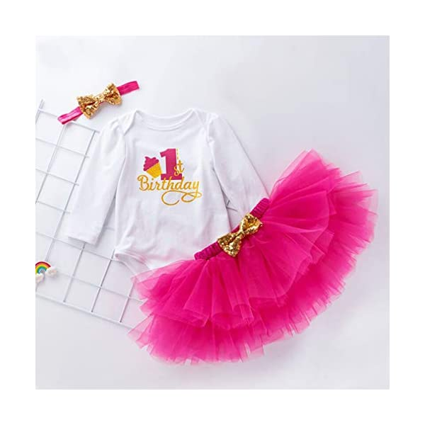 Gagacity Abiti Vestito Bambina 3 Pezzi Neonata Primo/Secondo Compleanno Abbigliamento Pagliaccetto+Gonna+Fascia 3