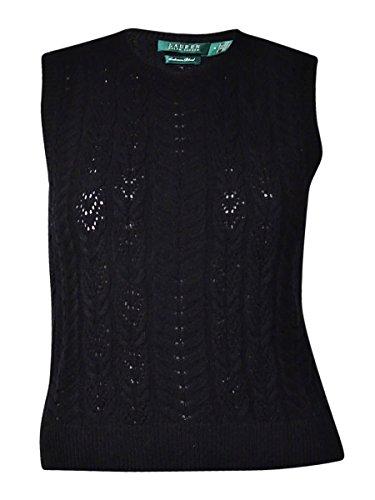 Ralph Lauren Wool Vest (Lauren Ralph Lauren Womens Cashmere Blend Pointelle-Knit Sweater Vest Black XL)