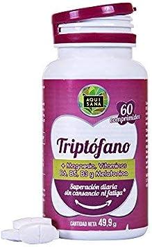 L-Triptófano con Magnesio + Vitamina B6,B5, B3 + Melatonina ...