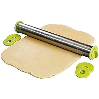Goeet Stainless Steel Rolling Pin - Professional Baking - 3 Adjustable Discs / 3 Precise Thicknesses - French Style - Non-Stick - Removable Rings