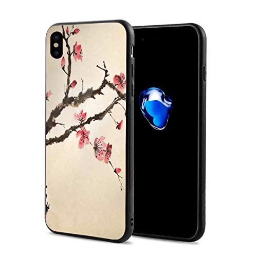 (Phone Case Cover for iPhone X XS,Traditional Chinese Paint of Figural Tree with Details Brushstroke Effects Print,Compatible with iPhone X/XS 5.8)