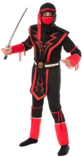 Rubie's Red and Black Skull Ninja Costume, Medium (Red Skull Costume)