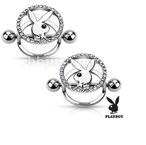 Pair of Playboy Bunny Centered CZ Paved Circle 316L Surgical Steel Nipple Shields (STEEL) - Circles Playboy