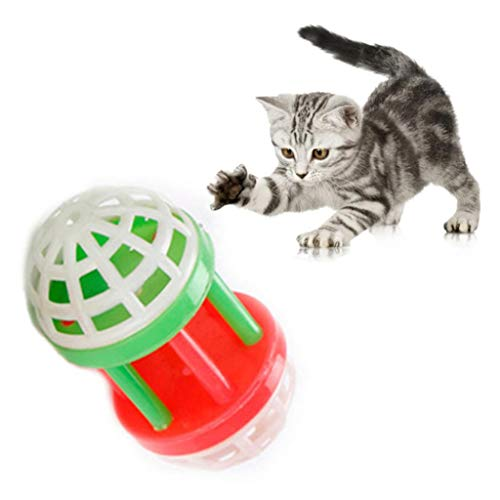 Dserw Christmas Pet Cat Funny Decompression Color Plastic Bell Dumbbell Ball Bell Ball Scratch Chewing Training Sound…