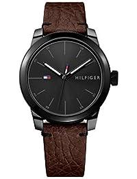 Men's Quartz Watch with Leather Calfskin Strap, Brown, 20 (Model: 1791383)