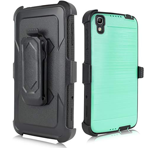 for Alcatel Idol 4 Case [Built in Screen] Full-Body Rugged Armor [Brushed Metal Texture] Shockproof Case w/Holster Belt Swivel Clip Kickstand for Idol 4 ()