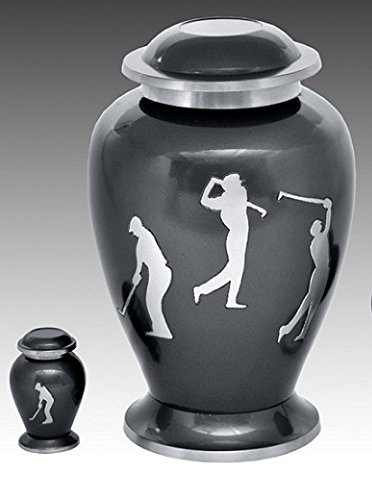 Golf Keepsake (Golf Sports Accent Large Brass Cremation Urn Set, Adult Human Funeral Urn - Handcrafted and Engraved Large Urn Deal includes one Keepsake.)