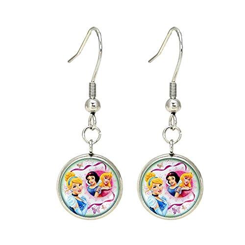 Princess Epoxy - Disney Princesses Dangle Earrings TV Comics Movies Cartoons Superhero Logo Theme Premium Quality Detailed Cosplay Jewelry Gift Series