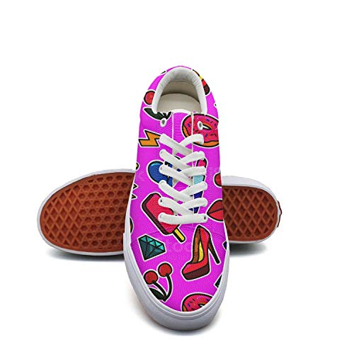 Womanice Cream Donut Lipstick High Heels Lips Purple Canvas Shoes Low-Cut Straps Leisure Sneakers Suitable for -
