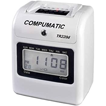 compumatic tr220d electronic time clock bundle includes 250 time cards 10 pocket time card - Electronic Time Card