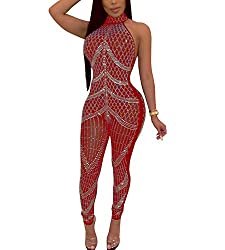 Red Mesh With Sequins & Halter Neck Sleeveless Jumpsuit