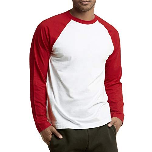 DailyWear Mens Casual Long Sleeve Plain Baseball Cotton T Shirts (RED/White, 3Xlarge)