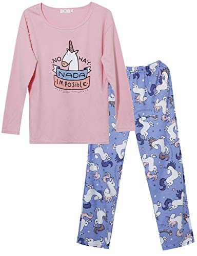 Big Girls Unicorn Cotton Pajama Set Pants & Long Sleeve Teen