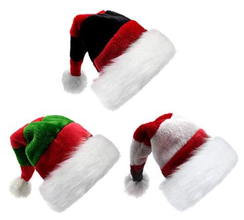 3pcs Children Christmas Santa Hat,Kids' Double-Layered Luxury Plush Christmas Santa Claus Xmas Cap Hat(Assorted Colors)]()