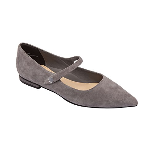 LUCI | Pointy Toe Suede Mary Jane Ballet Flat Comfortable Insole Padded Arch Support Slate Suede 6.5M ()