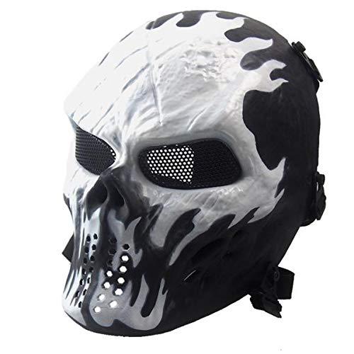 FTXJ Full Face Skull Warrior Mask, Airsoft Paintball Full Face Skull Skeleton CS Mask Tactical Military Halloween (295mm 210mm, White) (Warrior Full Face)
