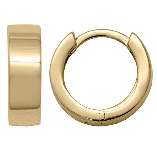 Small 14k Yellow Gold Square-Tube Huggie Hoop Earrings, All Sizes (Thicker & Smaller - 4mm x 12.6mm) ()