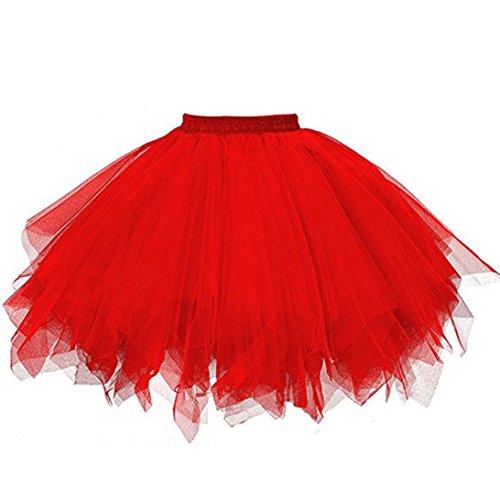 AmyDong Hot Sale! Ladies Dress, Womens Pleated Gauze Short Skirt Adult Tutu Dancing Skirt Half-Length Mesh Gauze Skirt (One Size, Red)