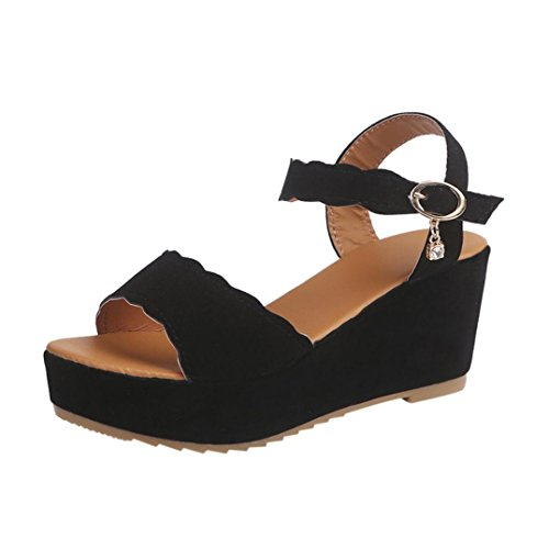 HLHN Women Sandals, Fish Mouth Dull Polish Sewing Ankle Buckle Strap Platform Wedge High Heel Peep-Toe Slope Shoes Casual Lady Black