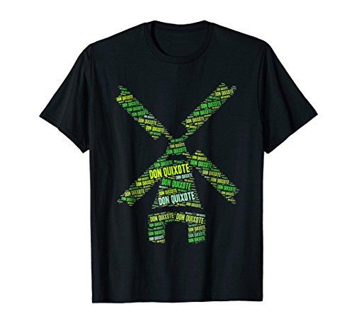 Mens Don Quixote Windmill Literary Book T-shirt 2XL Black