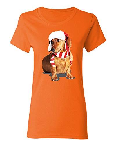 Falcon's Shop Happy New Year Cute Brown Weiner Dog Costume T-Shirt for Women Crew Neck Tee Shirt(Orange,XX-Large)