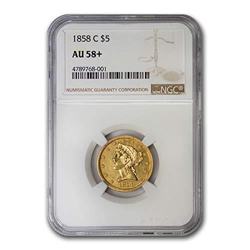 1858 C $5 Liberty Gold Half Eagle AU-58+ NGC G$5 AU-58 NGC