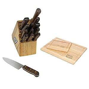 Premier 14 Piece Cutlery Block Set comes with 2 Piece Rubberwood Cutting Board Set