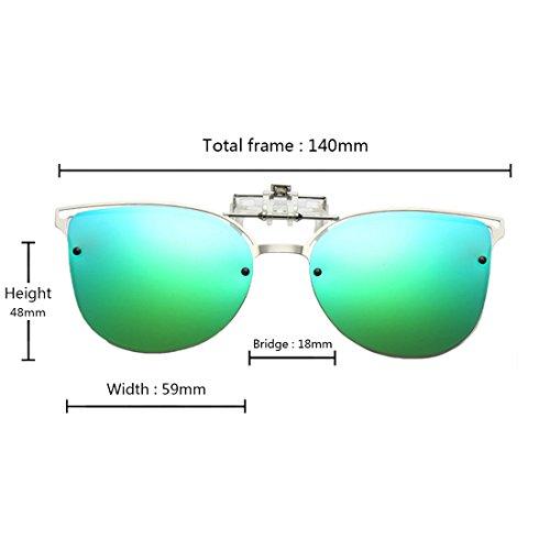 sol montura Flip Inlefen on Cat Eye con Clip Polarized de metálica Verde Gafas Gafas up de sol BpAp7q6