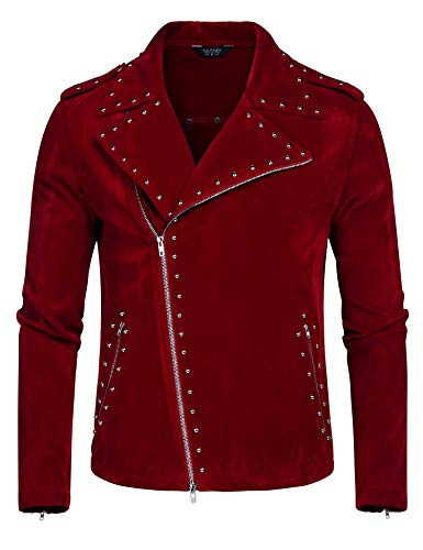 COOFANDY Men's Velvet Rivet Design Punk Rock Motorcycle Biker Jacket Zipper Coat(Red,M)
