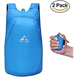 Packable Backpack, Pack of 2, by Gama - Light Weight, Foldable in Tiny Size, 20L Storage, 30KG Weight Support - For Womens, Men, Kids, Outdoor, Travel