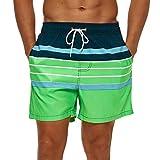 SILKWORLD Men's Quick Dry Swimming Trunks with Pockets Swimwear Beach Shorts, Navy/White/Green Stripe, Medium
