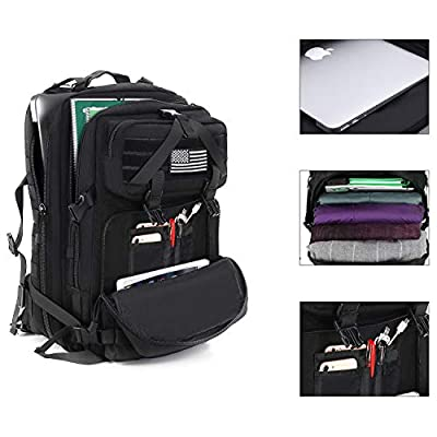 MOSISO 50L Tactical Backpack, Large Men 1000D Polyester 3 Day Assault Molle Rucksack Military Daypack Shoulder Bag with USA Flag Patch for Outdoor Sports Hiking Hunting Fishing Camping Training, Black