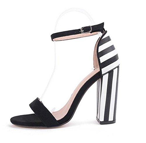 Geschenk spitze Heel Schnalle Sandalen HETAO Fashionmetal Absatz Wort Ferse Persönlichkeit Rom Frauen Schwarz High Schuhe Offene Mädchen q0TZw