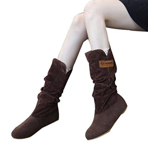 Knie Stiefel für Damen flache Ferse Stiefel Herbst Winter Schuhe, OVERMAL Damen Stiefel Kaffee