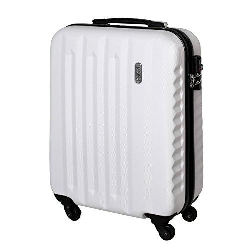 Karry Handgepäck Bordgepäck Hartschalen Koffer für Kurzreisen Urlaub Reisen Businesskoffer Trolley Case TSA Schloss 30 Liter Weiß 811