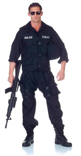 Underwraps Men's Swat with Jumpsuit, Black, One (Adult Swat Team Costume)